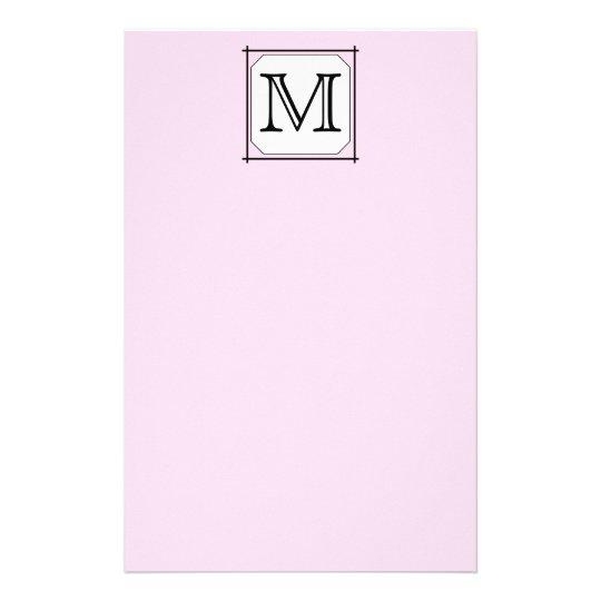 Your Letter. Custom Monogram. Pink Black White Stationery