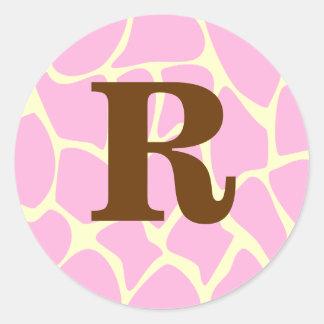 Your Letter Custom Monogram. Pink Giraffe Print. Classic Round Sticker