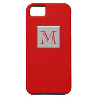 Your Letter. Custom Monogram. Silver Red iPhone 5 Cover