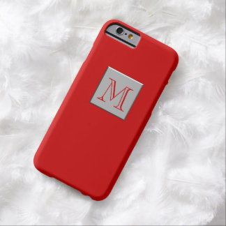 Your Letter. Custom Monogram Silver Red Barely There iPhone 6 Case