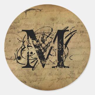 Your Letter. Custom Monogram. vintage feel. Classic Round Sticker