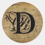Your Letter. Custom Monogram. vintage feel. Stickers