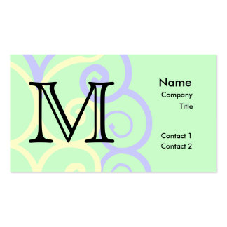Your Letter. Custom. Pastel Mix Swirl Monogram. Business Card