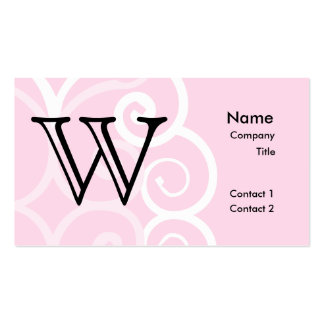 Your Letter. Custom Pink Swirl Monogram. Business Card