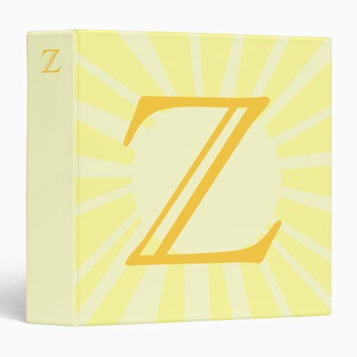 Your Letter. Custom Yellow Sun Ray Monogram. Binder
