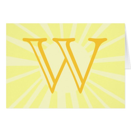 Your Letter. Custom Yellow Sun Ray Monogram. Greeting Card