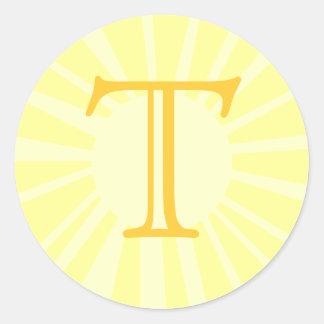 Your Letter. Custom Yellow Sun Ray Monogram. Classic Round Sticker