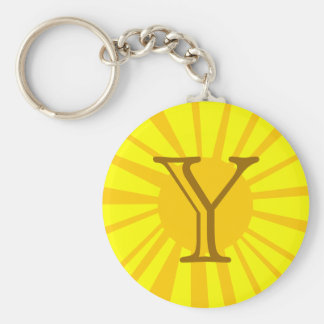 Your Letter. Custom Yellow Sun Ray Monogram. Basic Round Button Keychain