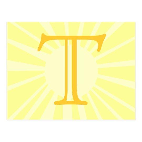 Your Letter. Custom Yellow Sun Ray Monogram. Postcard