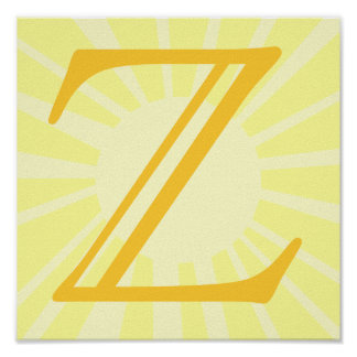 Your Letter. Custom Yellow Sun Ray Monogram. Poster