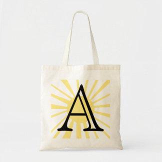 Your Letter. Custom Yellow Sun Ray Monogram. Tote Bag
