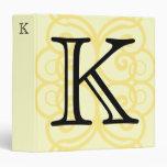 Your Letter. Custom Yellow Swirl Monogram. Vinyl Binders