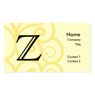 Your Letter. Custom Yellow Swirl Monogram. Business Card