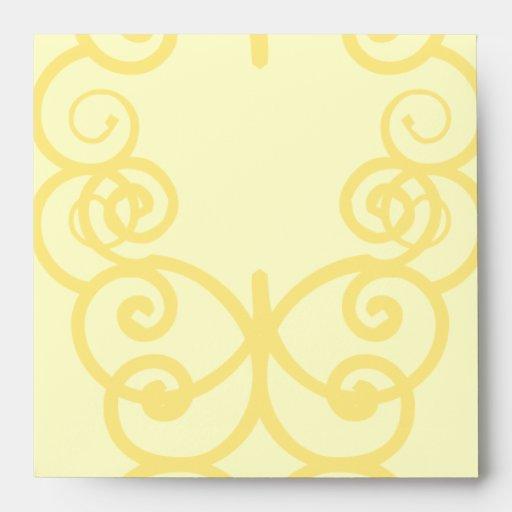 Your Letter. Custom Yellow Swirl Monogram. Envelopes