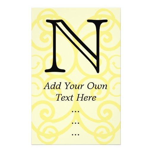 Your Letter. Custom Yellow Swirl Monogram. Flyer Design