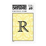 Your Letter. Custom Yellow Swirl Monogram. Postage
