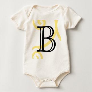 Your Letter. Custom Yellow Swirl Monogram. Bodysuit