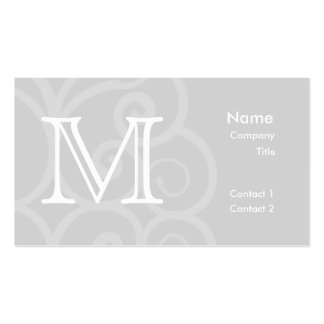 Your Letter. Gray and White Swirl Monogram. Custom Business Card