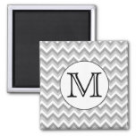 Your Letter. Gray Zigzag Pattern Monogram. 2 Inch Square Magnet