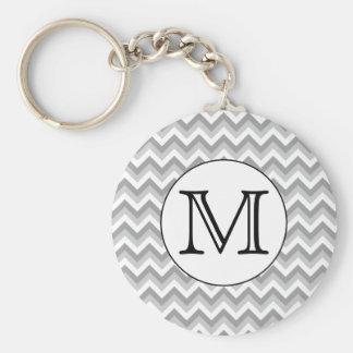 Your Letter. Gray Zigzag Pattern Monogram. Basic Round Button Keychain