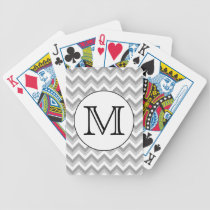 Your Letter. Gray Zigzag Pattern Monogram. Bicycle Playing Cards