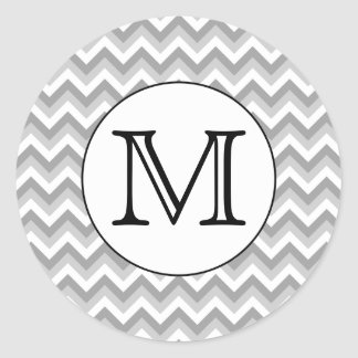 Your Letter. Gray Zigzag Pattern Monogram. Classic Round Sticker