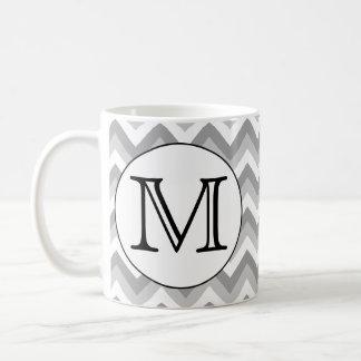 Your Letter. Gray Zigzag Pattern Monogram. Coffee Mug