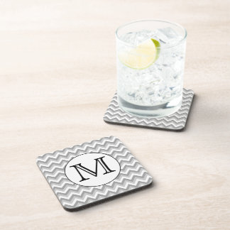 Your Letter. Gray Zigzag Pattern Monogram. Coaster