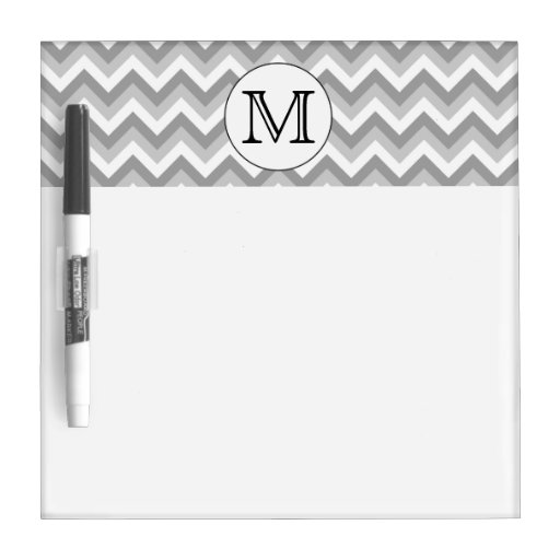 Your Letter. Gray Zigzag Pattern Monogram. Dry Erase Boards
