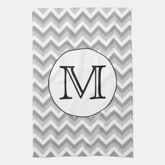 Your Letter. Gray Zigzag Pattern Monogram. Hand Towel