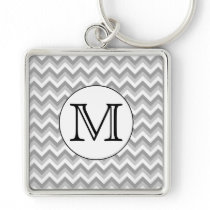 Your Letter. Gray Zigzag Pattern Monogram. Keychain
