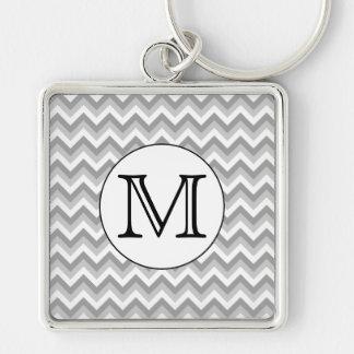 Your Letter. Gray Zigzag Pattern Monogram. Keychain
