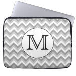 Your Letter. Gray Zigzag Pattern Monogram. Computer Sleeve