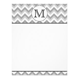 Your Letter. Gray Zigzag Pattern Monogram. Letterhead Design