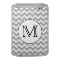 Your Letter. Gray Zigzag Pattern Monogram. MacBook Air Sleeve
