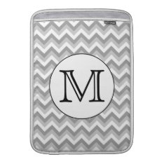Your Letter. Gray Zigzag Pattern Monogram. Macbook Air Sleeve at Zazzle