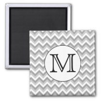 Your Letter. Gray Zigzag Pattern Monogram. Magnet