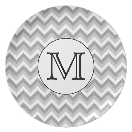 Your Letter. Gray Zigzag Pattern Monogram. Melamine Plate