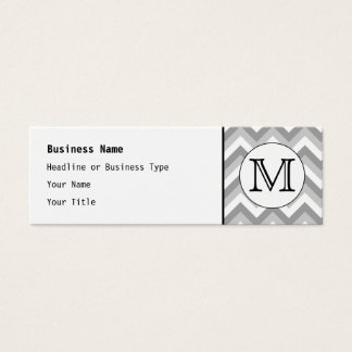 Your Letter. Gray Zigzag Pattern Monogram. Mini Business Card
