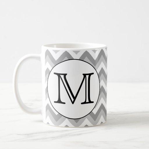 Your Letter. Gray Zigzag Pattern Monogram. Classic White Coffee Mug