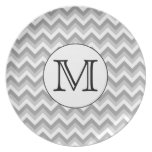 Your Letter. Gray Zigzag Pattern Monogram. Party Plates