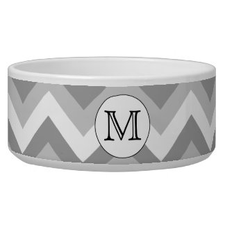 Your Letter. Gray Zigzag Pattern Monogram. Pet Water Bowls