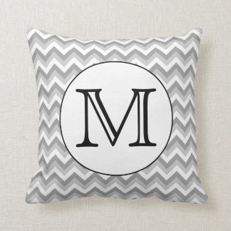 Your Letter. Gray Zigzag Pattern Monogram. Pillows