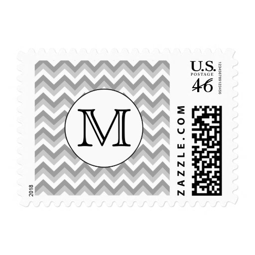 Your Letter. Gray Zigzag Pattern Monogram. Postage
