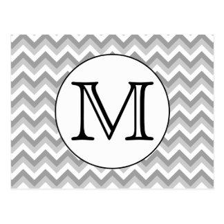 Your Letter. Gray Zigzag Pattern Monogram. Postcard