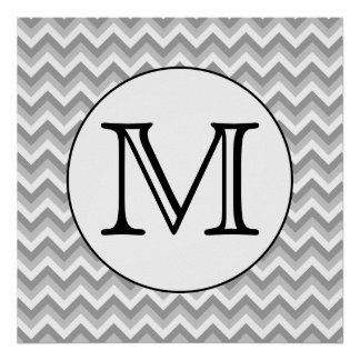 Your Letter. Gray Zigzag Pattern Monogram. Poster