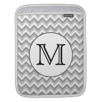 Your Letter. Gray Zigzag Pattern Monogram. Sleeve For iPads
