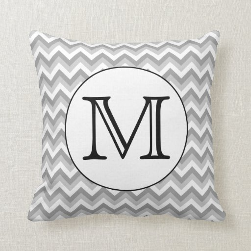 Your Letter. Gray Zigzag Pattern Monogram. Throw Pillow