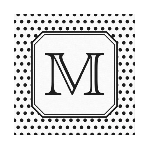 Your Letter Monogram. Black and White Polka Dots. Canvas Print