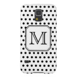 Your Letter Monogram. Black and White Polka Dots. Cases For Galaxy S5